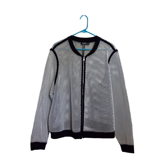a.n.a Jackets & Blazers - Perforated White Jacket with Black Contrast Trim